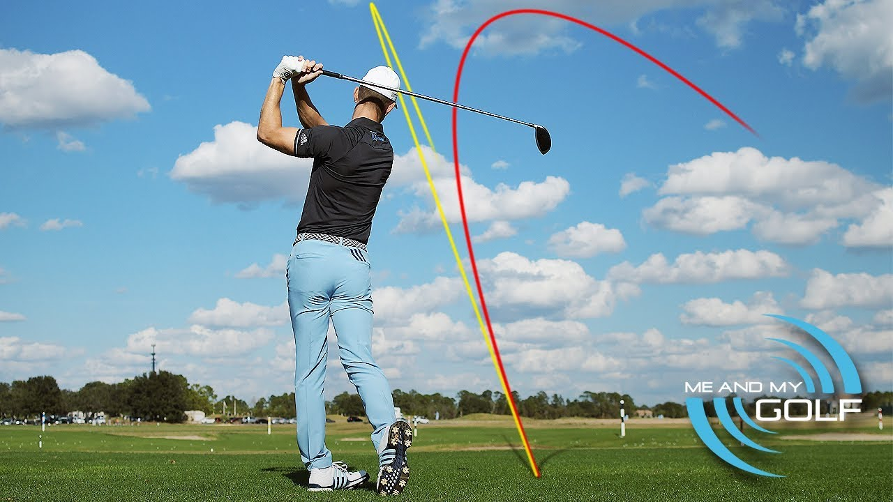 Picture of Andy Proudman with golf ball trajectory showing slice